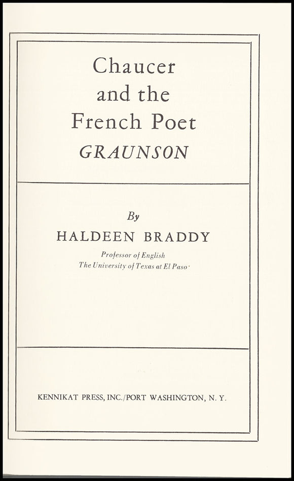 Title Page: Chaucer and the French Poet Graunson.