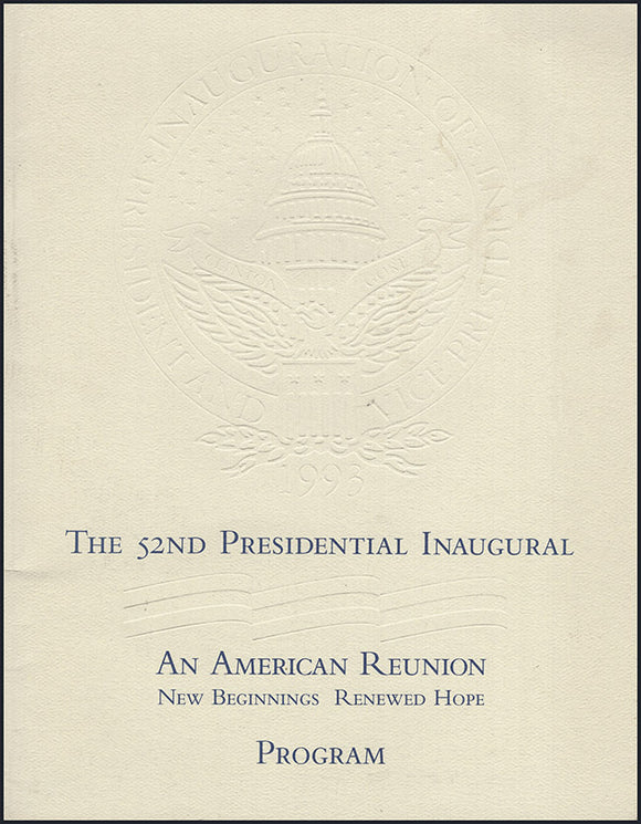 Cover: Program: The 52nd Presidential Inaugural. An American Reunion: New Beginnings, Renewed Hope