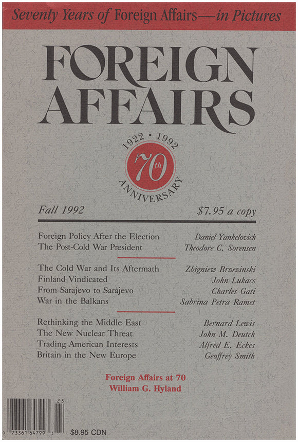 Book Cover. Foreign Affairs (Volume 71, No. 4, Fall 1992).