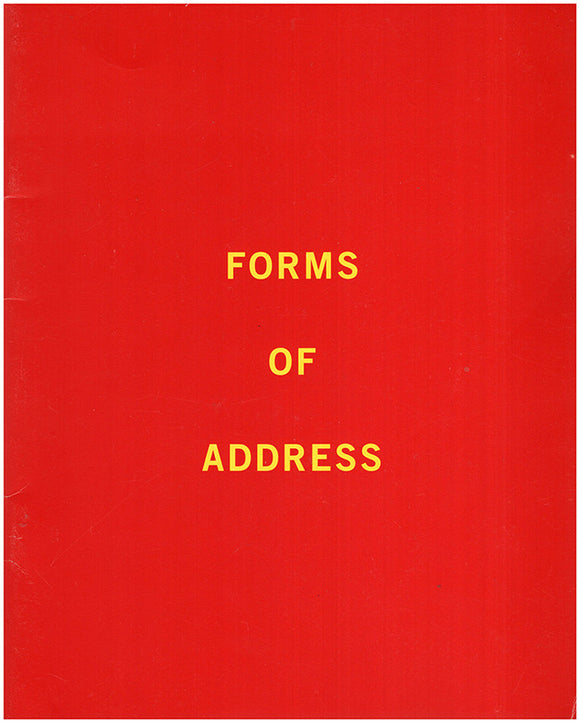 Book Cover. Forms of Address: Lynn Aldrich, Janet Biggs, Jean LaMarr, Julian Lang, Canan Tolon