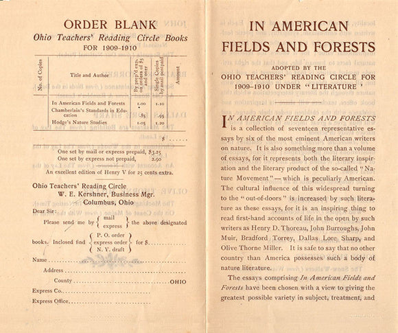 Order Blank: Ohio Teachers' Reading Circle Books for 1909-1910: In American Fields and Forests (4025)