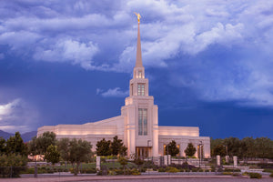 Gila Valley Temple - Stormy Sunset