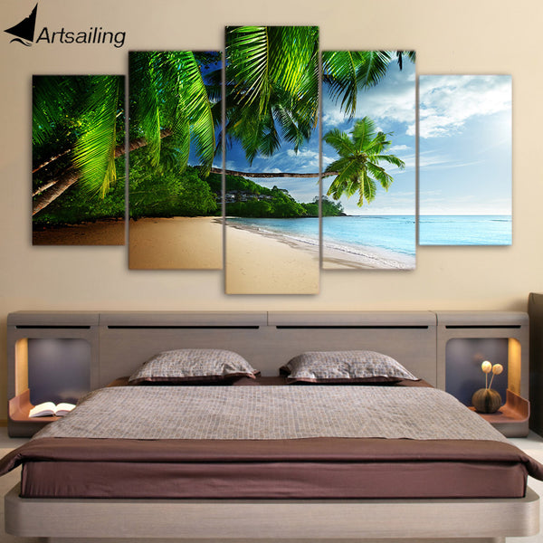 HD Print Secret Island 5 Piece Canvas Art