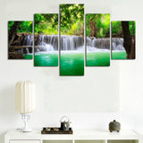 HD Green Island Waterfall Canvas Art