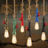 Roped Colorful Retro Vintage Iron Water pipe Lamps