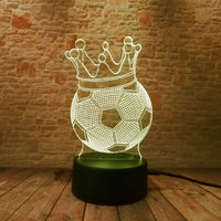 Modern 3D LED Crown KING Soccer Lamp