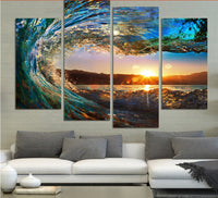 HD Printed Wave Beach Canvas Art