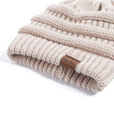 High Quality Cotton Women's Knit Beanie w Ponytail Hole