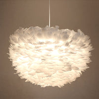 Modern White Goose Feathered Pendant Lights