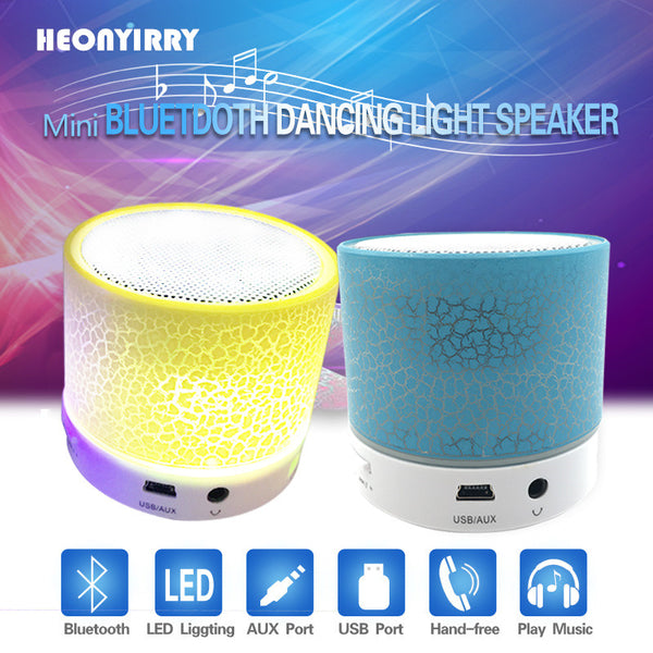 LED Portable Mini Wireless Speakers with Bass (5 Colors)