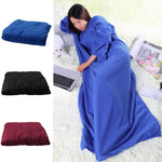 Thick Microplush Snuggie Blanket With Sleeves