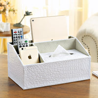 Multi functional Leather Desk Organizer Tissue Box + Remote/Phone/Tablet