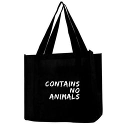Contains No Animals Black Grocery Tote