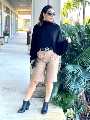 Camel Color Leather Bermuda Shorts With Pockets