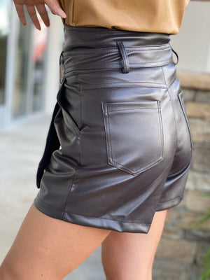 Chocolate High Waist Paper Bag Pu Shorts With Tie Belt