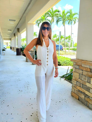 HALTER BUTTON DOWN JUMPSUIT