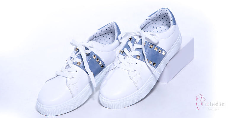 White and Blue Sneaker - Fit fashion boutique