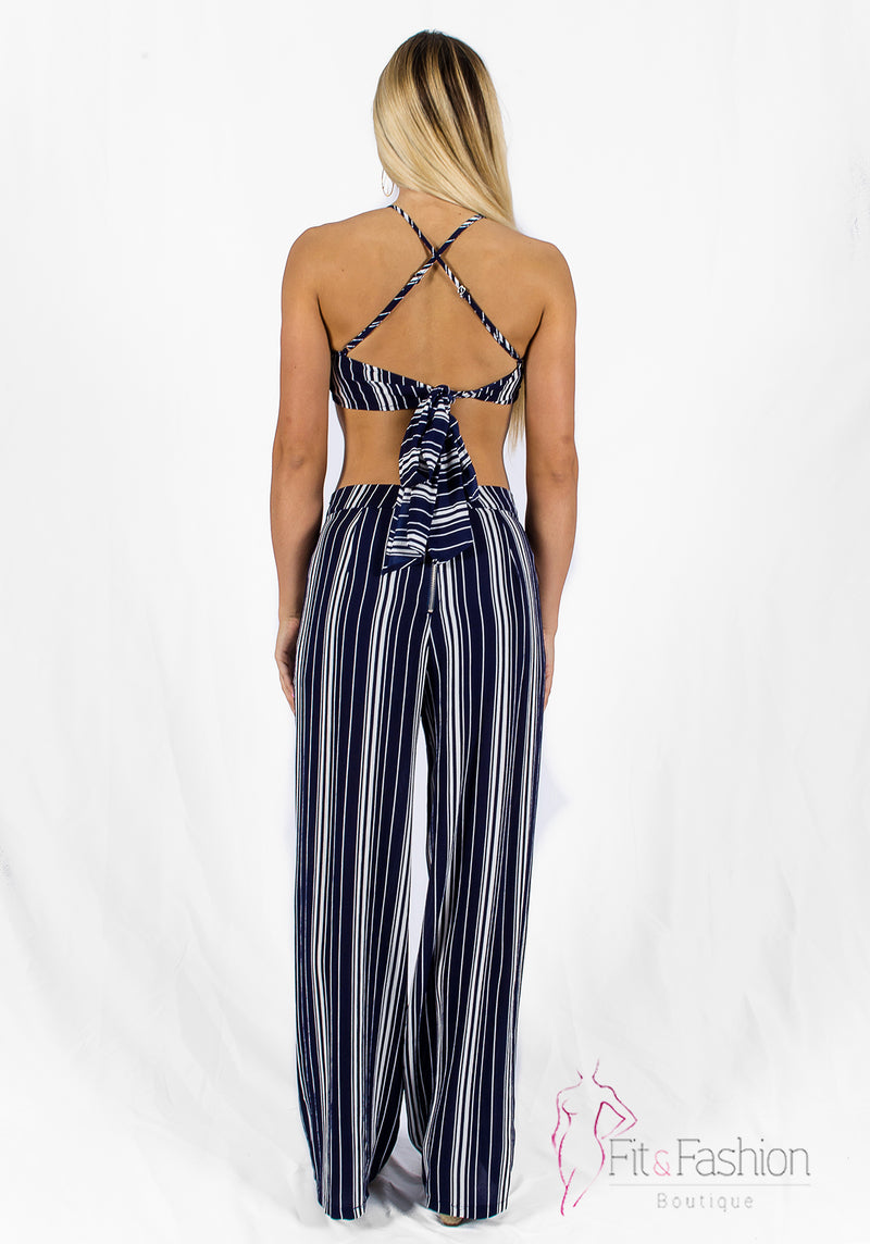 Blue and white Stripe set - Fit fashion boutique