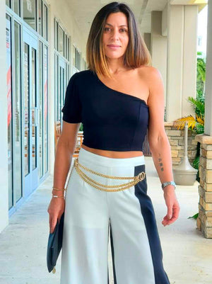 One Shoulder Puffy Sleeve Crop Top