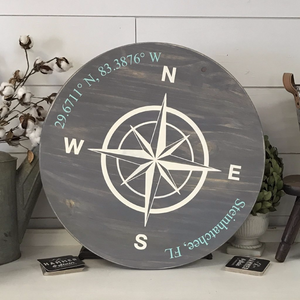 Compass Rose Sign & Coordinates