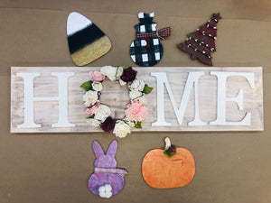 Home interchangeable sign with 4 cutouts