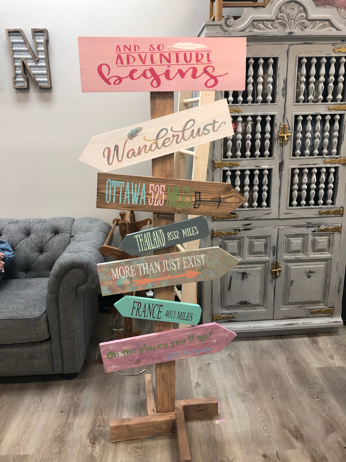 Direction sign (5.5ft) sign with 6 planks