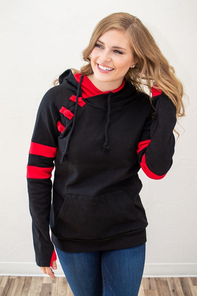 Black and Red Varsity Hoodie