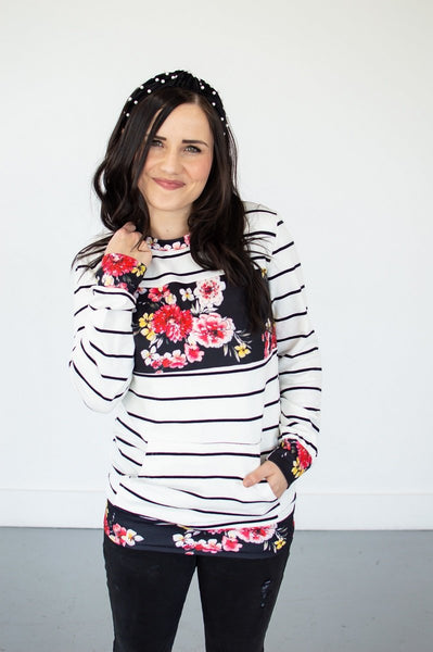 Striped Floral Crew Neck