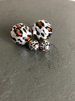 Double Leopard Pearl Studs