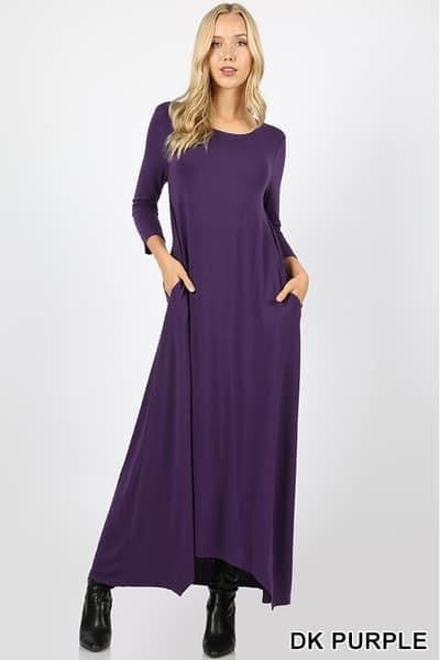 Purple Sharkbite Maxi Dress
