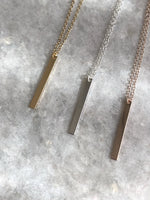 Bar Pendant: available in silver, gold, or rose gold