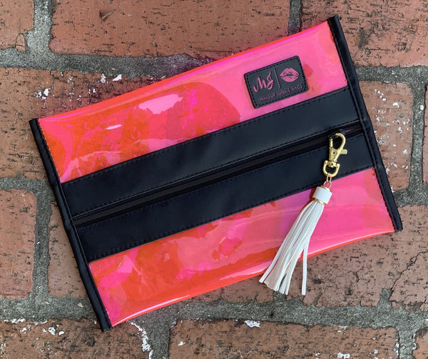 In the Clear Hot Pink Makeup Junkie Bag