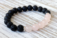 Rose quartz and lava stone stretch bracelet