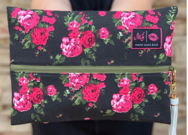 Rose Floral Makeup Junkie Bag