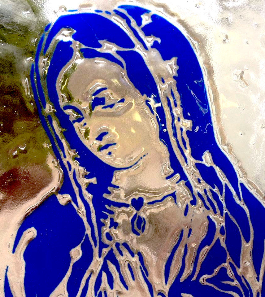 Our Lady of Guadalupe Art Glass Panel by Jenny Rainey