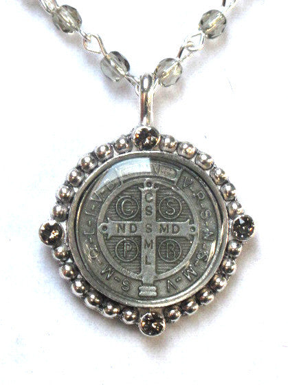 Virgins Saints & Angels San Benito Magdalena Necklace in Black Diamond