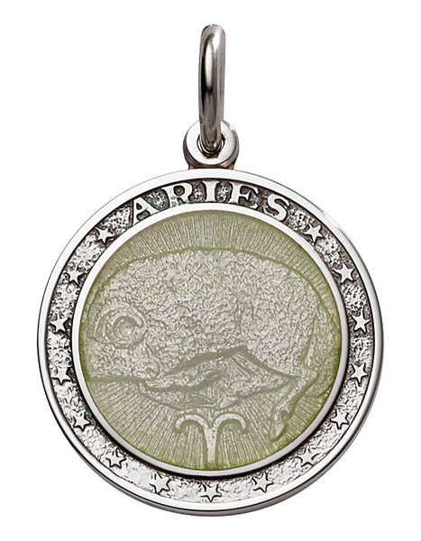 "Whispering Cowgirl Sterling Silver Aries Medal Necklace 18"" Chain"