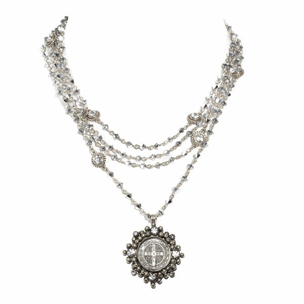 VSA Designs Bicone Cloister San Benito Necklace Black Diamond and Silver