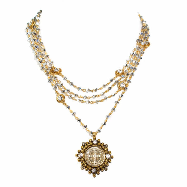 VSA Designs Cloister San Benito Necklace Black Diamond and Gold
