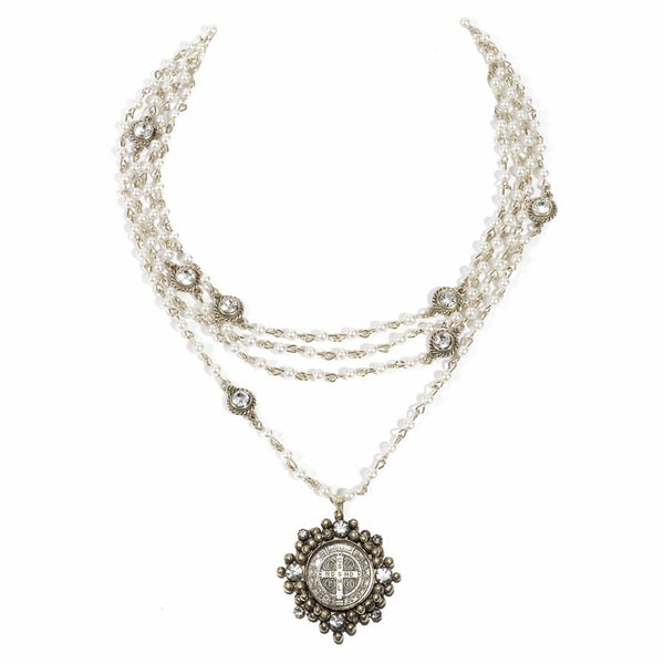 VSA Designs Bicone Cloister San Benito Necklace Pearl and Silver