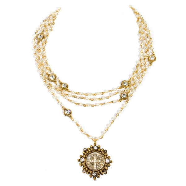 VSA Designs Bicone Cloister San Benito Necklace Pearl and Gold