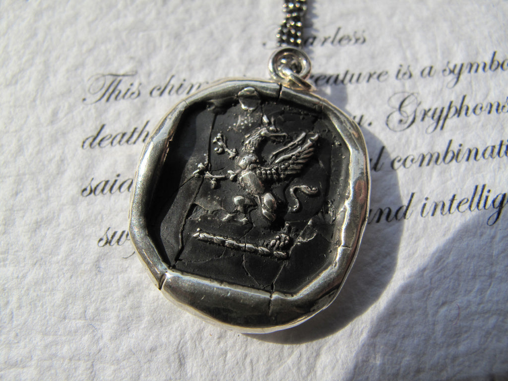Pyrrha Fearless Gryphon Wax Seal Necklace