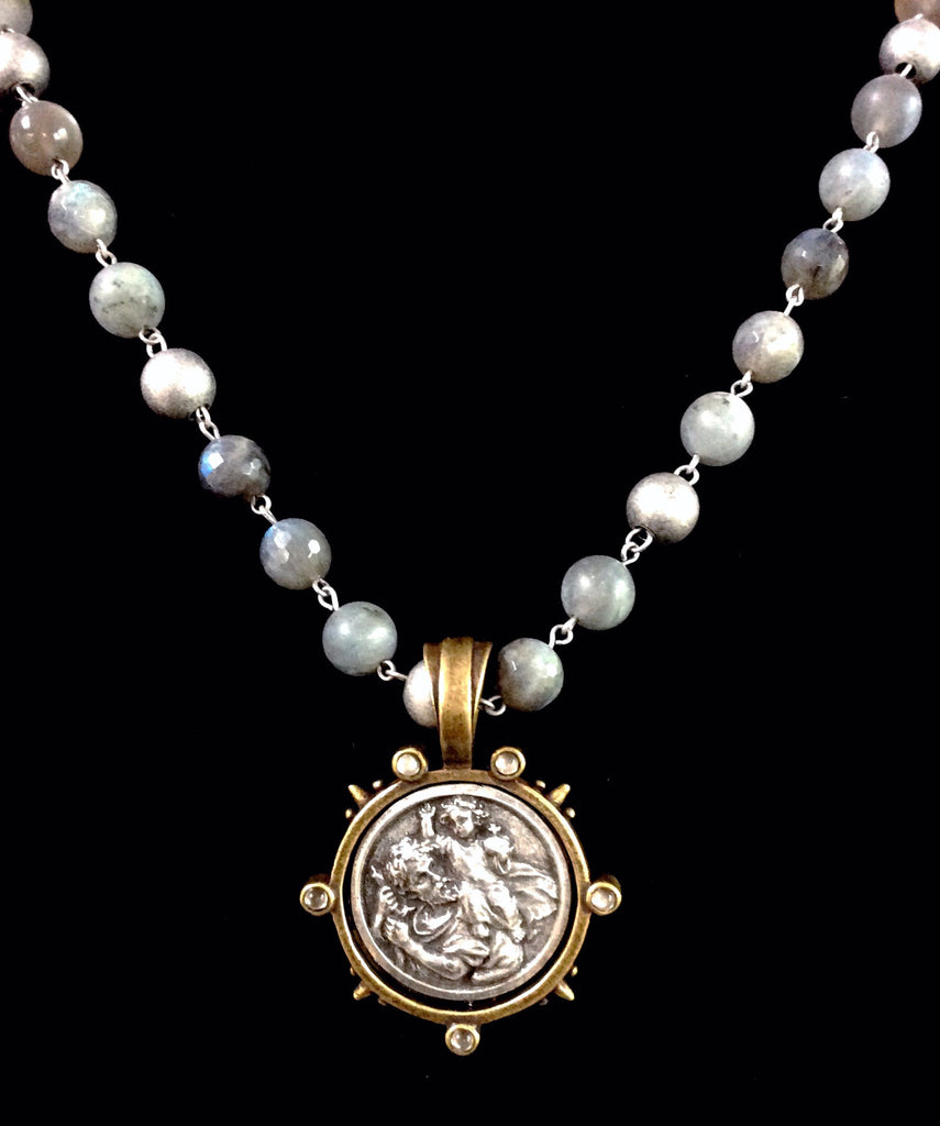 French Kande St. Christopher Moonlight Mix Necklace 28""