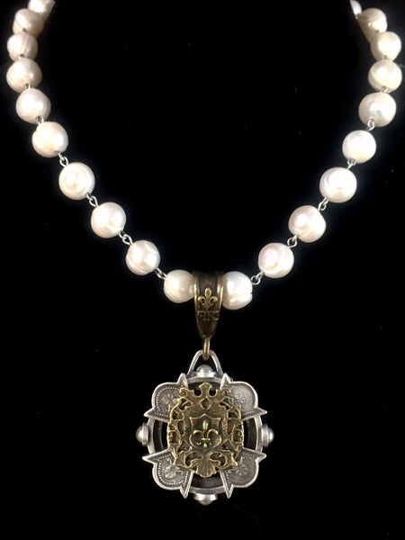 French Kande Freshwater Pearl Merit Cross Stack Medallion