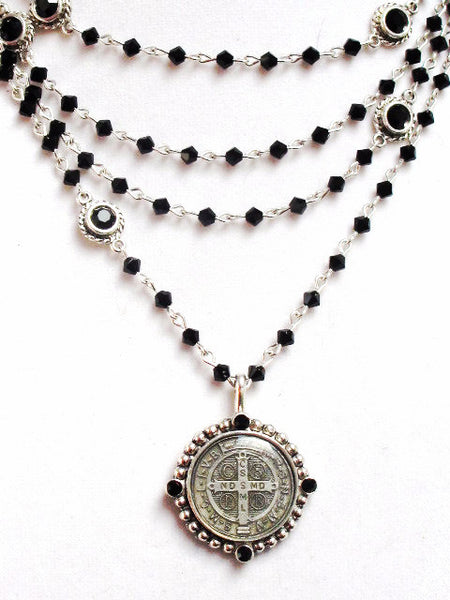 Bicone Virgins Saints & Angels San Benito Magdalena Necklace Black Jet & Silver
