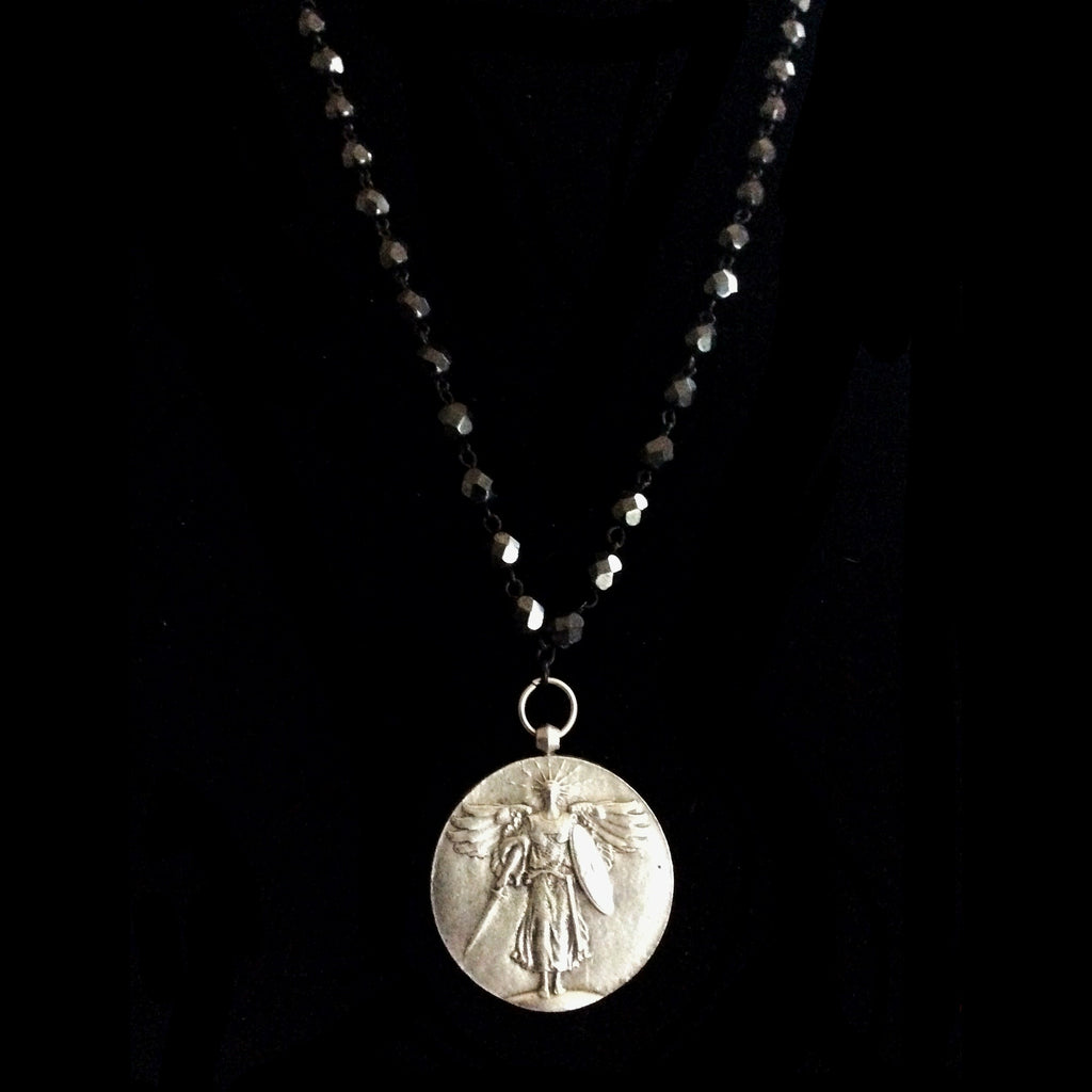 "St. Michael Medallion on Hematite Crystal Necklace 34"" by Whispering Goddess"