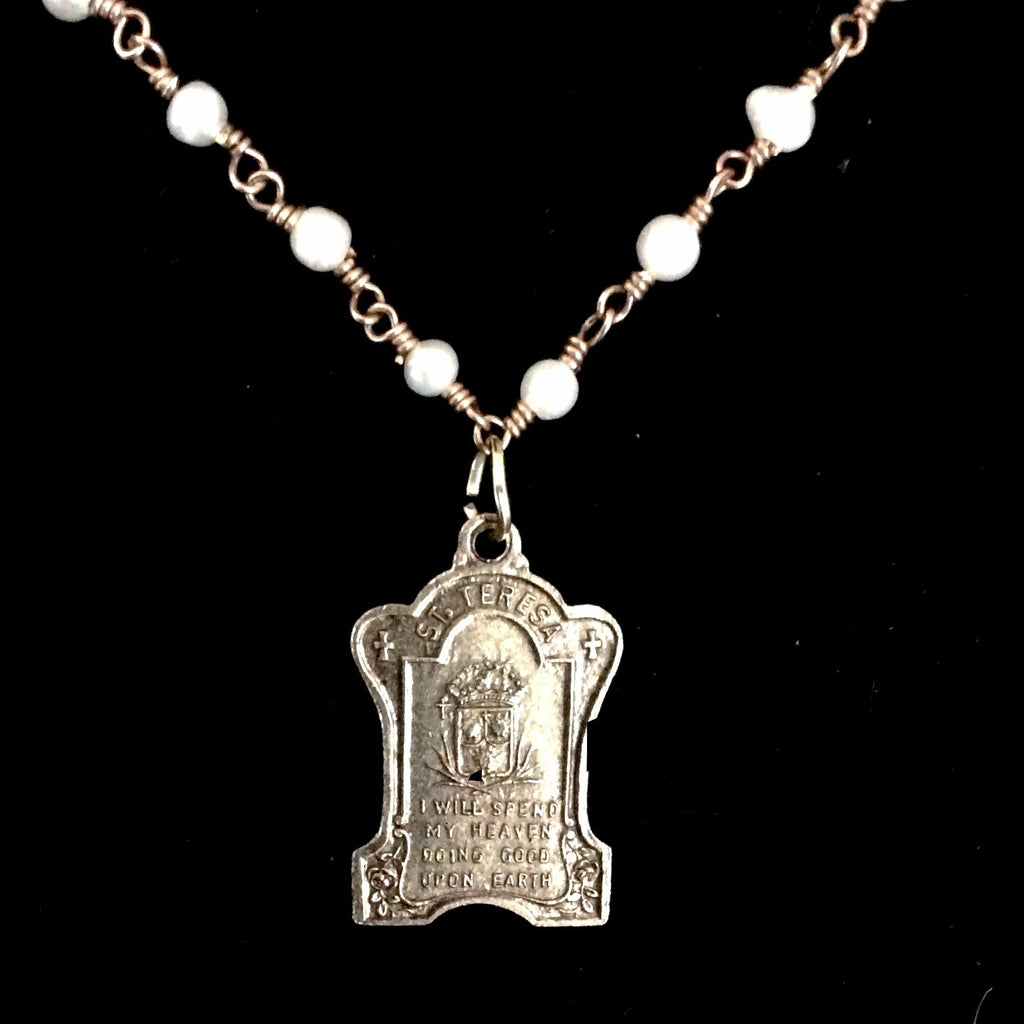 Saint Therese the Little Flower Medal in Freshwater Pearls and Gold Necklace by Whispering Goddess