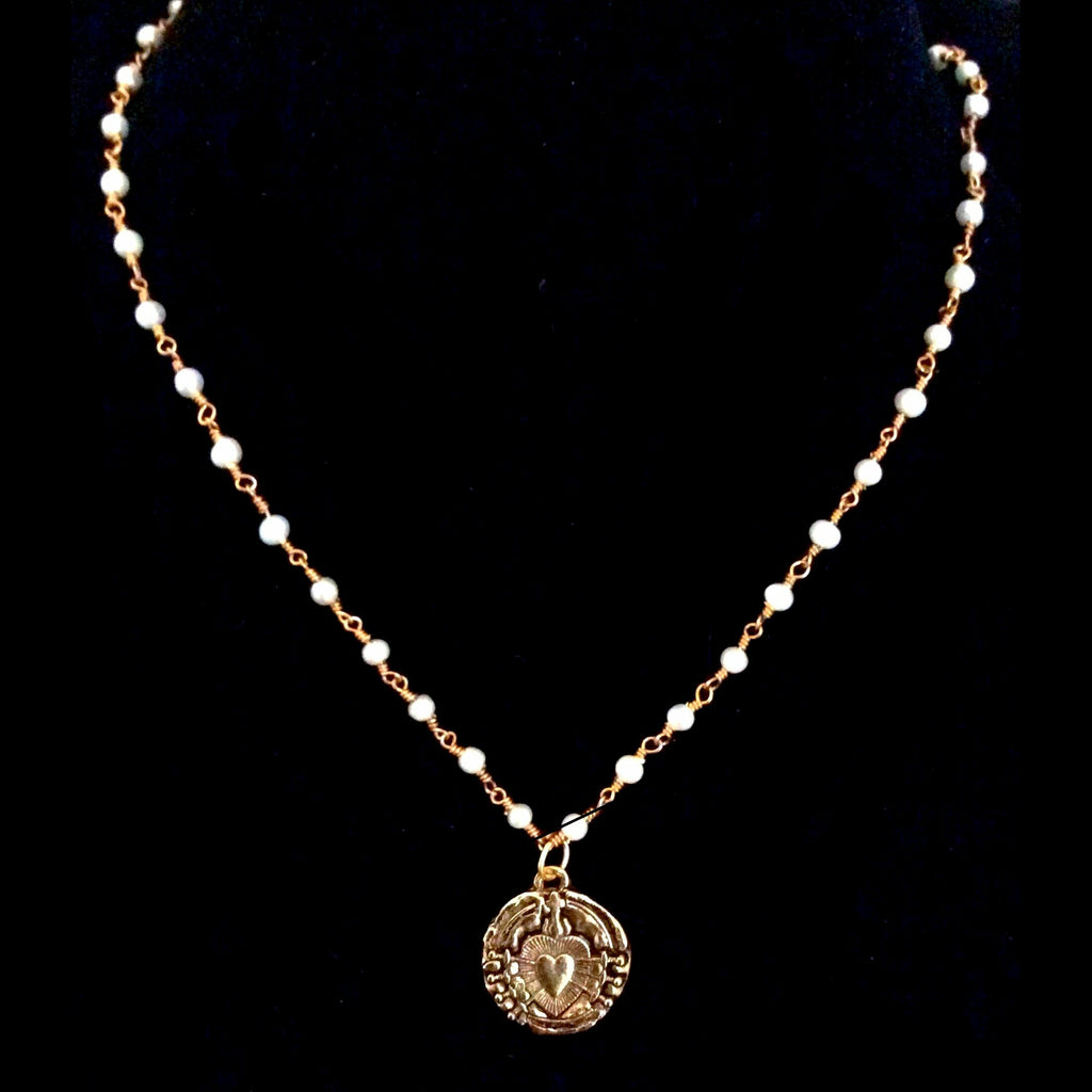 Immaculate Heart with Swords of Seven Sorrows Freshwater Pearl Necklace in Gold by Whispering Goddess