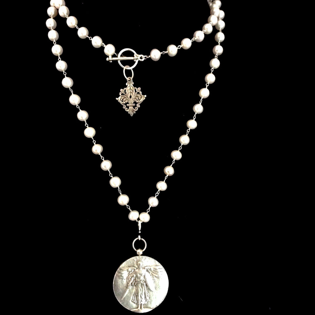 "St. Michael Medallion on Freshwater Pearls with Fleur de Lis 34"" by Whispering Goddess"