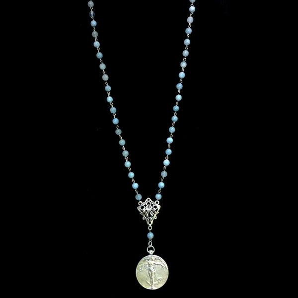 Peace Angel  Necklace in Aquamarine & Silver by Whispering Goddess